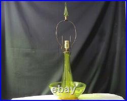 Mid Century Blenko Lamp in Olive Green