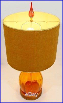 Mid Century Modern Orange Blenko Blown Glass Table Lamp Original Shade & Finial
