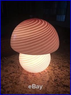 Mid Century Vetri MURANO Crystal Venini Swirl Pink Glass Mushroom Lamp