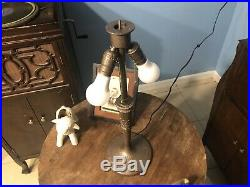 Miller Electric Table Lamp with 12 Panel Art Glass Shade 1920's