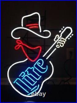 Miller Lite Cowboy Guitar Neon Lamp Sign 17x14 Bar Beer Light Glass Artwork