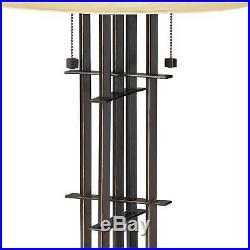 Mission Accent Table Lamp Bronze Alabaster Art Glass for Living Room Bedroom