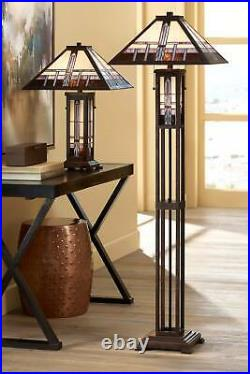 Mission Floor Lamp Art Deco Oiled Bronze Stained Glass For Living Room Reading