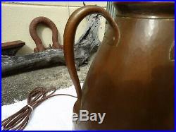 Mission arts craft stained slag glass roycroft stickley dirk van urp copper lamp