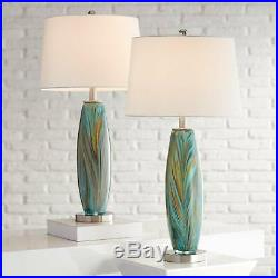 Modern Table Lamps Set of 2 Handcrafted Blue Brown Art Glass Living Room Bedroom