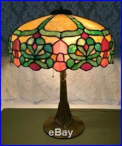 Mosaic Leaded Glass Lamp c 1910 Handel Tiffany arts crafts Duffner slag era