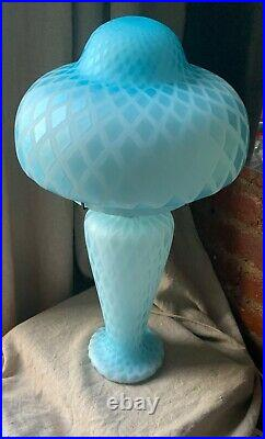 Murano Satin Art Glass Mother of Pearl Mushroom Table Lamp Mid Century Modern