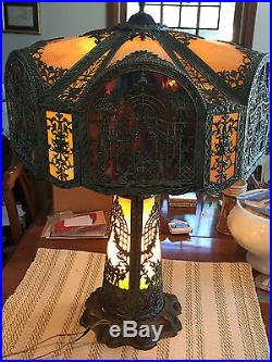 NW Art Shade Co. Curved Glass Panel Lamp, circa 1920's