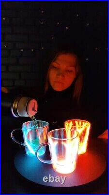 Neon Glass Plasma Mug by TeslaCoilPro, Decorative Plasma Art Piece, Tesla Lamp