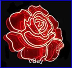 New Flower Rose Red Neon Light Sign Lamp Beer Pub Acrylic 24 Artwork Real Glass