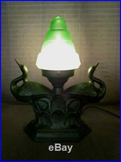 No. 89 Great Art Deco Spelter Bird lamp With Vintage Green Pyramid Glass Shade