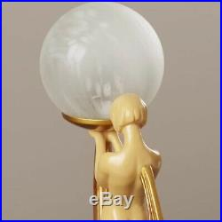Nude Lady Table Lamp Sculpture Art Deco Figurine Statue Frosted Globe Light