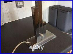 ORIGINAL 1920s ART DECO LAMP TABLE DESK LAMP CHROME STEM GLASS GLOBE SHADE RARE