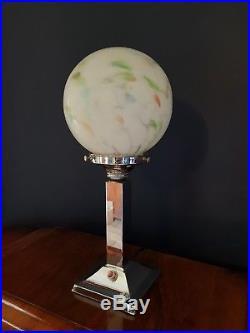 ORIGINAL 1930s ART DECO LAMP TABLE DESK LAMP CHROME STEM GLASS SHADE