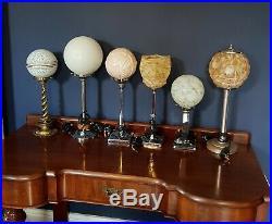 ORIGINAL 1930s ART DECO LAMP TABLE DESK LAMP CHROME STEM GLASS UPLIGHTER SHADE