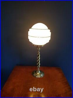 ORIGINAL 1930s ART DECO TABLE DESK LAMP BRASS BARLEY TWIST STEM. GLOBE SHADE