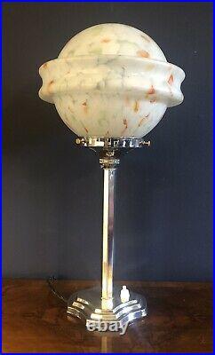 ORIGINAL 1930s ART DECO TABLE DESK / LAMP CHROME STEM ICONIC GLOBE GLASS SHADE