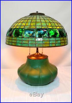 ORIGINAL HAMPSHIRE POTTERY TABLE LAMP w 16 TURTLEBACK DOME, ARTS & CRAFTS