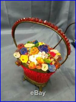 Old Antique Czechoslovakian Art Deco Glass Beaded Fruit Flowers Lamp Light Brass
