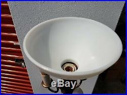 Old Art Deco Steampunk Brass Candelabra Floor Lamp Milk Glass Torchiere Trilite