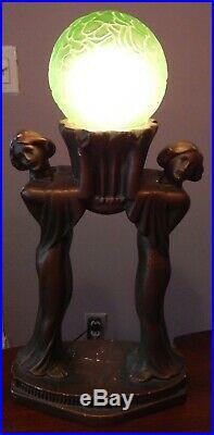 Old Art Deco plaster lamp nymphs with uranium green brain glass globe bronze