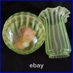 Opalescent Vaseline Glass Bracket Oil Lamp. Art Nouveau