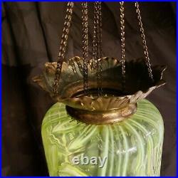 Opalescent Vaseline Glass hanging Candle lamp. Art Nouveau. Ca 1895