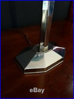 Original 1930 Art Deco Lamp Table/desk Chrome/ Blue Glass Skyscraper Shade Rare
