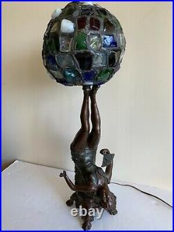 Original Art Deco Figural Lamp Upside Down Flapper With Chunk Glass Shade