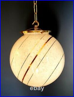 Original Art Deco Saturn Glass Globe Light very Large brass gallery and hook