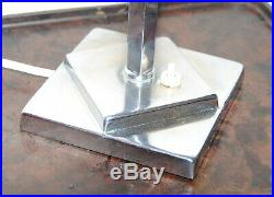 Original Authentic Art Deco Chrome Table Lamp & Stepped Glass Shade