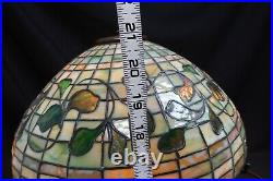 Original Louis Comfort Tiffany Table Lamp with Ivy Leaves Signed Tiffany Studios