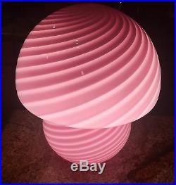 PAIR ART GLASS Vetri ITALY MURANO Crystal Venini Swirl Pink Glass Mushroom LAMPS