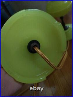 PAIR Antique Art Deco Brass Vaseline Uranium Glass Electric Table Lamps REWIRED