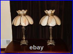 PAIR of Vintage Stained Leaded glass Slag Art Nouveau Tiffany-style table lamps