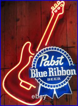 Pabst Blue Ribbon Guitar Beer Neon Lamp Sign 17x14 Bar Light Glass Artwork