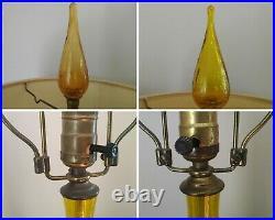 Pair (2X) Original Blenko Mid-Century Modern Crackle Glass Lamp wt Blenko Finial