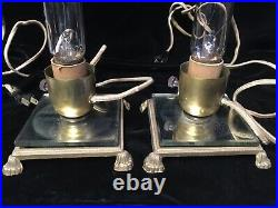 Pair Antique Glass Art Deco Skyscraper Bullet Bedroom Lamps Footed Mirror Bases