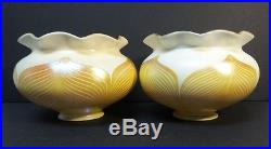 Pair Antique Quezal Art Glass Lamp Shades, Pulled Feather Design, Signed