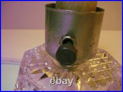Pair Art Deco Crystal Glass Bullet Torpedo Skyscraper Boudoir Vtg Antique Lamps
