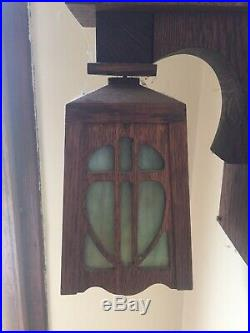 Pair Arts Crafts Mission SLAG GLASS Sconce Light Wall Lamp W. E. Brown