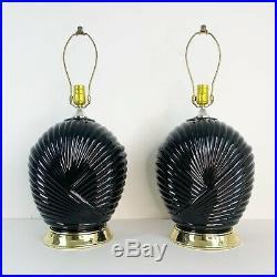 Pair Black Glass Lamps 80s Art Deco Revival Hollywood Regency Postmodern Set