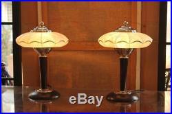 Pair Of Lamps Art Deco Glass Clichy Art Deco Lamp 1930s