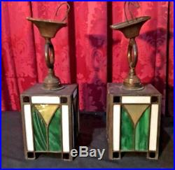 Pair Of Vintage Antique Mission Lamps Arts & Crafts Leaded Glass Hanging Lights