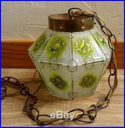 Pair Vintage Mid Century MCM Art Glass Swag Pendant Lamps Lights Ceiling Fixture