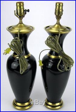 Pair Vintage Murano Vetri Cenedese Black Glass Vases Lamps Gold Trim Mid Century