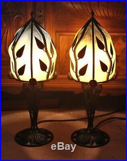 Pair of French Art Deco Lamps in Wrought Iron with Coloured Art Glass Shades