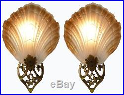 Pair of French Art Nouveau Frosted Glass Lamp Shades & Brass Wall Lights-Sconces
