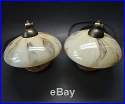 Pair of VTG Czech ART DECO BAUHAUS 1930's Marbled Glass Shades Lamps