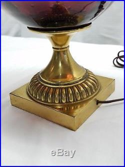 Pair of Vintage Mid Century Modern Blenko Amethyst Purple Art Glass Lamp Light